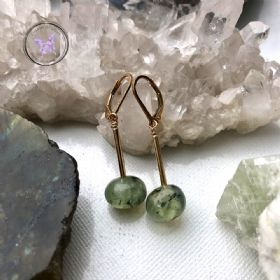 Gold Prehnite Natural Nugget Earrings